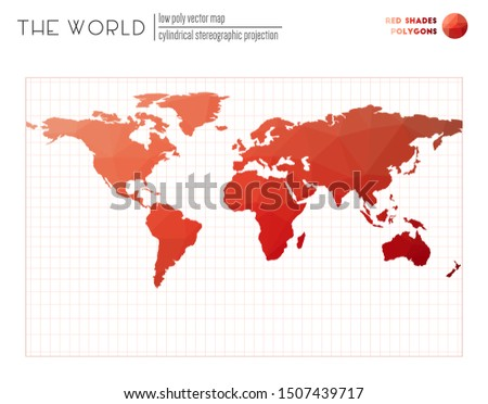World map in polygonal style. Cylindrical stereographic projection of the world. Red Shades colored polygons. Modern vector illustration.