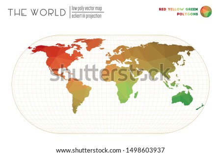 World map in polygonal style. Eckert III projection of the world. Red Yellow Green colored polygons. Awesome vector illustration.