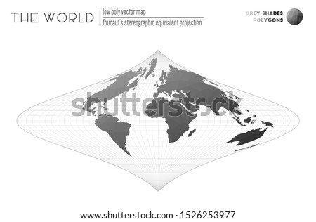 World map in polygonal style. Foucaut's stereographic equivalent projection of the world. Grey Shades colored polygons. Awesome vector illustration.