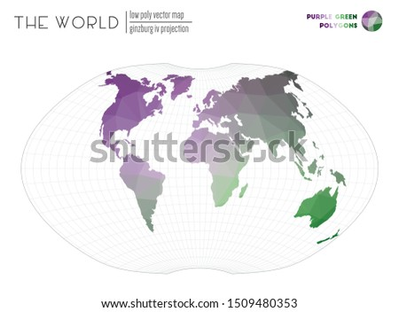 World map in polygonal style. Ginzburg IV projection of the world. Purple Green colored polygons. Energetic vector illustration.