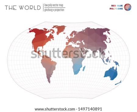 World map in polygonal style. Ginzburg V projection of the world. Red Blue colored polygons. Creative vector illustration.