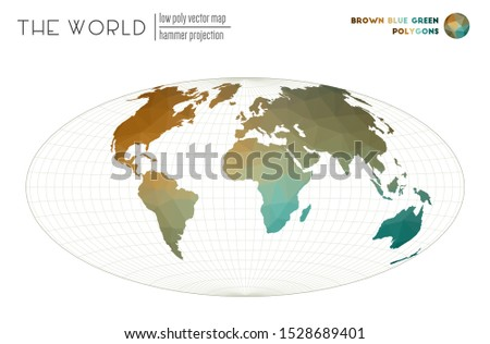 World map in polygonal style. Hammer projection of the world. Brown Blue Green colored polygons. Awesome vector illustration.