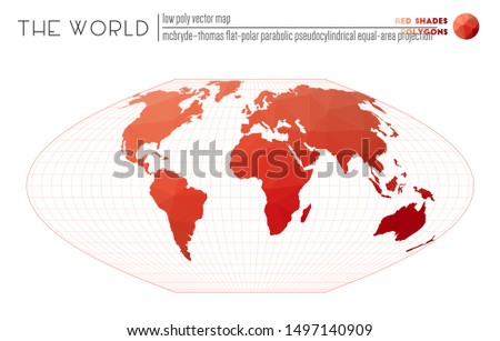 World map in polygonal style. McBryde-Thomas flat-polar parabolic pseudocylindrical equal-area projection of the world. Red Shades colored polygons. Contemporary vector illustration.