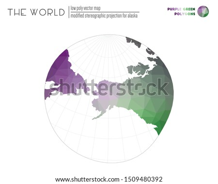 World map in polygonal style. Modified stereographic projection for Alaska of the world. Purple Green colored polygons. Contemporary vector illustration.