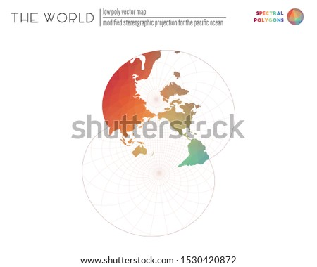 World map in polygonal style. Modified stereographic projection for the Pacific ocean of the world. Spectral colored polygons. Creative vector illustration.