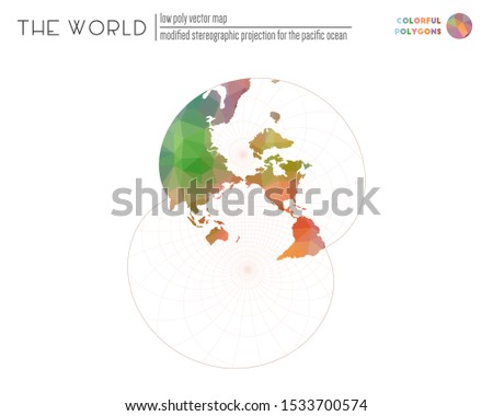 World map in polygonal style. Modified stereographic projection for the Pacific ocean of the world. Colorful colored polygons. Elegant vector illustration.
