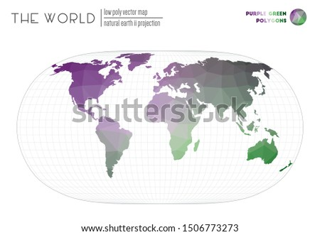 World map in polygonal style. Natural Earth II projection of the world. Purple Green colored polygons. Creative vector illustration.