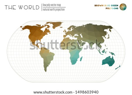 World map in polygonal style. Natural Earth projection of the world. Brown Blue Green colored polygons. Energetic vector illustration.