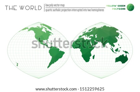 World map in polygonal style. Quartic authalic projection interrupted into two hemispheres of the world. Yellow Green colored polygons. Creative vector illustration.