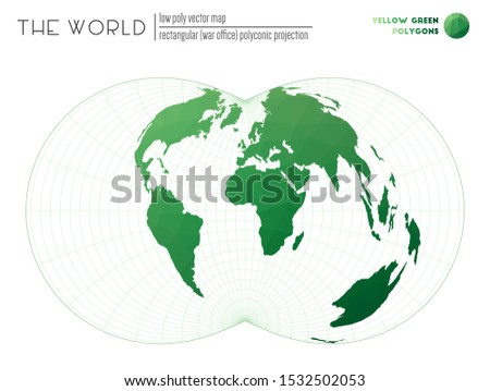 World map in polygonal style. Rectangular (War Office) polyconic projection of the world. Yellow Green colored polygons. Neat vector illustration.
