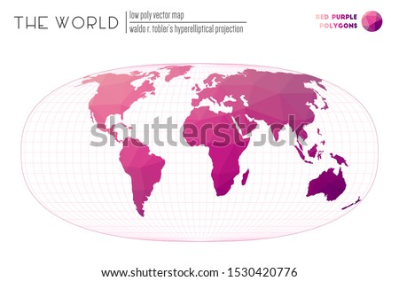 World map in polygonal style. Waldo R. Tobler's hyperelliptical projection of the world. Red Purple colored polygons. Awesome vector illustration.