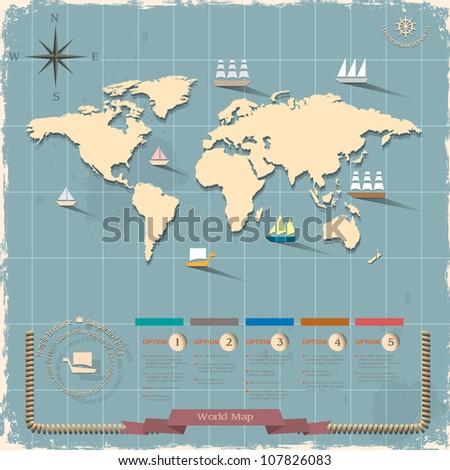 World map in retro style design. Vector eps10