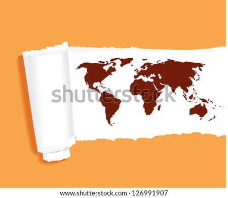 world map in ripped yellow paper vector - stock vector