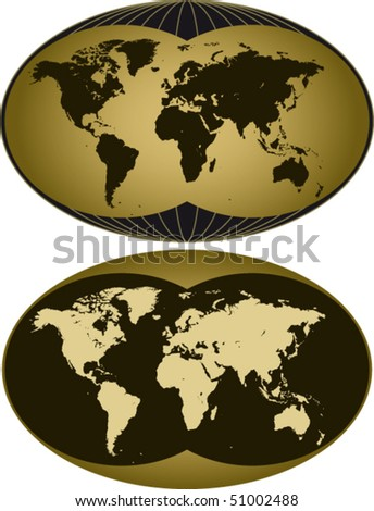 world map in two versions