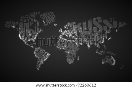 world map in typography with