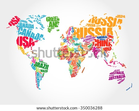 world map in typography word