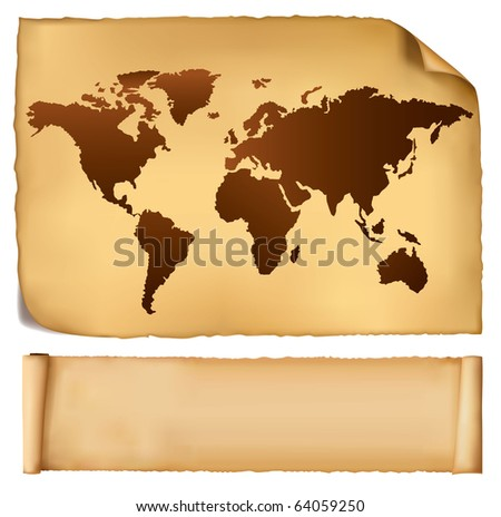 World map in vintage pattern and old paper. Vector.
