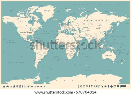 World Map in Vintage Style. High detailed worldmap illustration #670704814