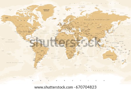 World Map in Vintage Style. High detailed worldmap illustration