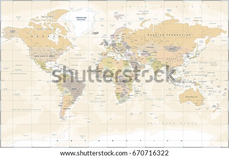 World Map in Vintage Style. High detailed worldmap vector illustration