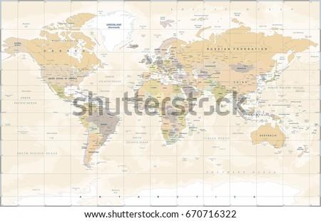 World Map in Vintage Style. High detailed worldmap vector illustration