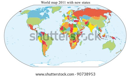 World Map 2011 including new states like South Sudan and Kosovo. Fully and easy editable vector map, data are in layers.