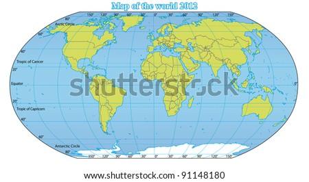 World Map 2012 including new states like South Sudan and Kosovo. Fully and easy editable vector map, data are in layers.