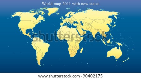 World Map 2011 including new states like South Sudan and Kosovo. Fully editable vector, data are in layers. Dark blue background.