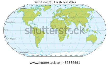World Map 2011 including new states like South Sudan. Fully editable vector, data are in layers.