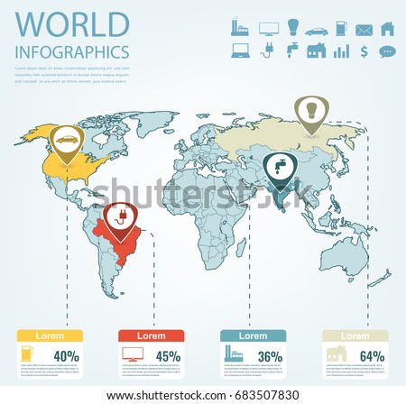 World map infographic download free vector art stock graphics world map infographic template all countries are selectable vector gumiabroncs Images