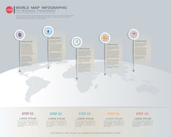 World map Infographic template, Five steps with pointer marks, Communicates data through charts, graphs, Make facts and statistics more interesting, and easier to understand.