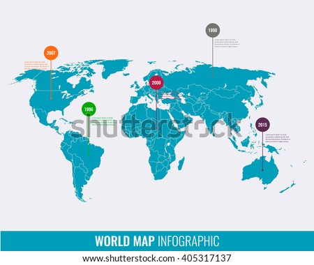 World map infographic template. Vector
