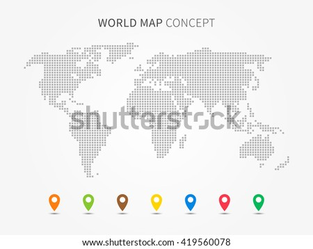 world map infographic with colorful pointers vector illustration modern world map with pins graphic design