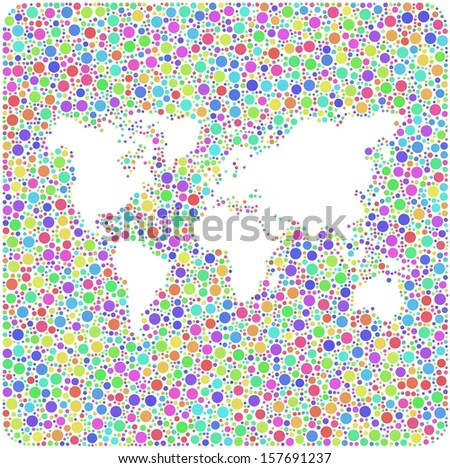 World map into a square icon. Mosaic of harlequin circles.  A number of 4498 little circles are accurately inserted into the mesh.