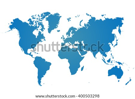 World map isolated on white background. Best popular World map Vector Blank Blue similar  world map template, cover, annual reports, infographics. Flat Earth Graph World map illustration.