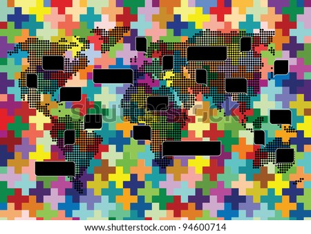 World map knitted mosaic with colorful speech bubbles illustration background vector