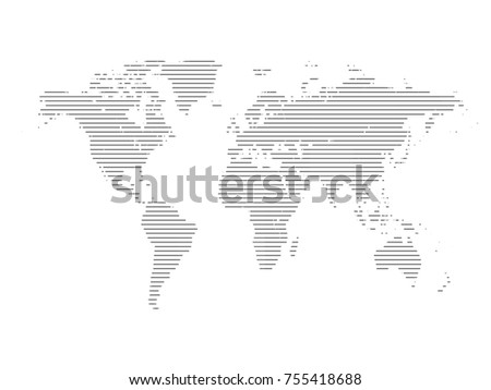 World map line.All elements are separated Abstract linear polygonal background. Vector illustration EPS 10 . #755418688