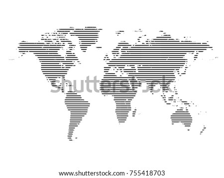 World map line.All elements are separated Abstract linear polygonal background. Vector illustration EPS 10 . #755418703