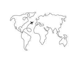 World map line art. Continuous line drawing. Airplane. Travel concept.