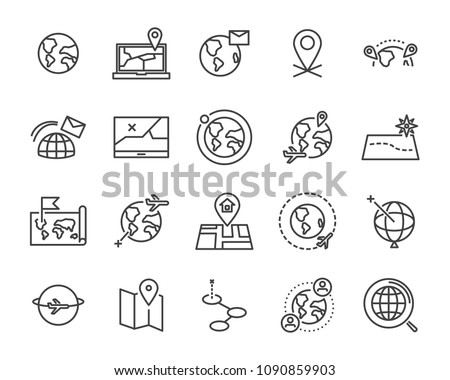 world map line icon set, global communication vector line icons, location plan to travel icon