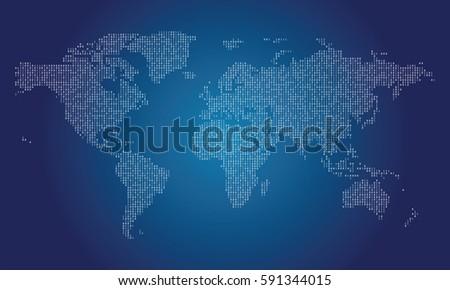 world map made from binary data