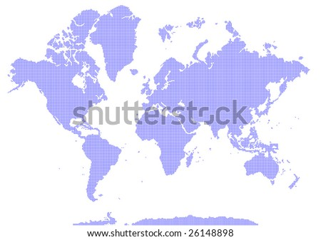 world map made from pixels