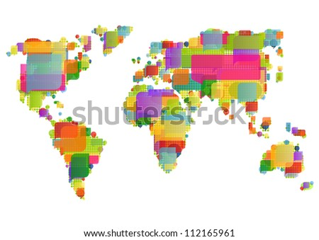 World map made of colorful speech bubbles concept illustration background vector