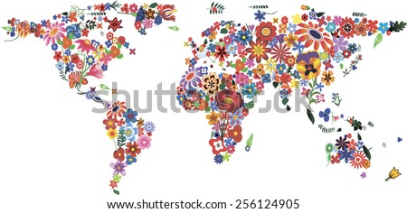 world map made of plenty
