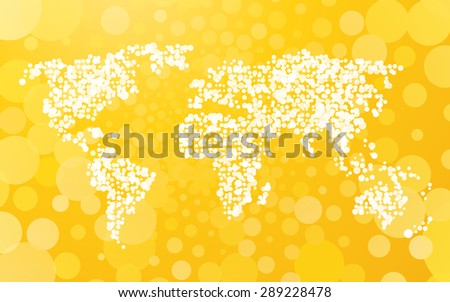 World map made with dots descargue grficos y vectores gratis world map made of small dots on a yellow background with bubbles gumiabroncs Choice Image