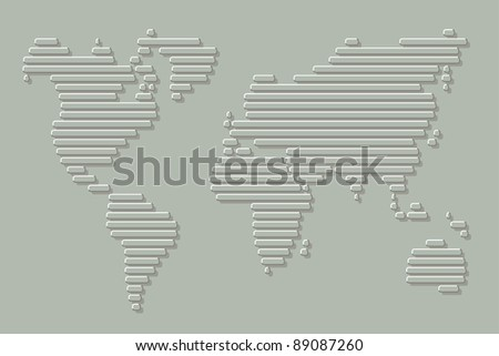 World map made up of horizontal lines