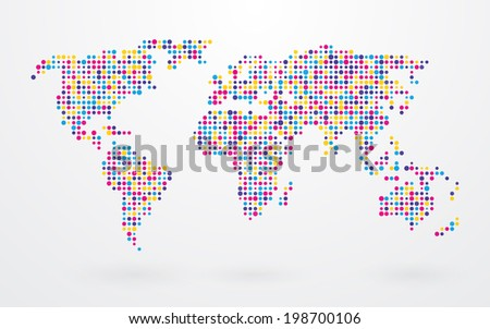 World map made with dots descargue grficos y vectores gratis world map made up of small colorful dots gumiabroncs Choice Image