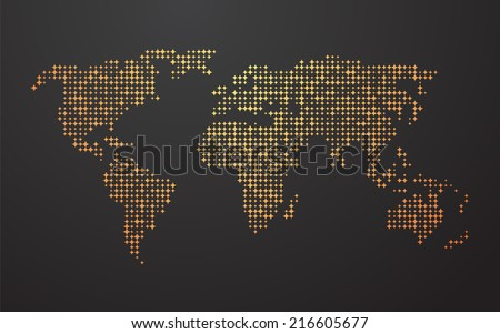 world map made   up of the