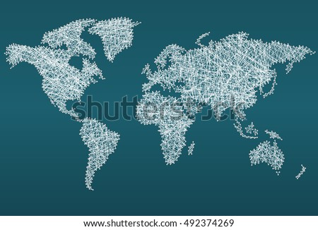 Abstract world map made with network lines download free vector world map made with threads concept background gumiabroncs Image collections