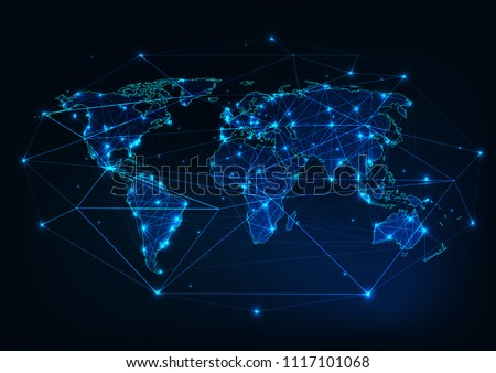 World map mesh with continents outline made of lines, dots, stars, triangles and surrounded by abstract framework. Globalization, internet connection, communication concept. Polygonal wireframe vector